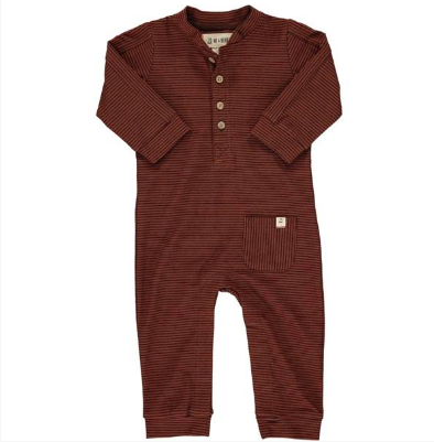 New Fall Me & Henry Rust Striped Jersey Romper 100% Cotton - JEN'S KIDS BOUTIQUE
