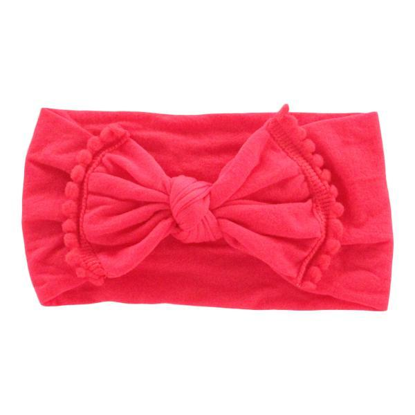 Pom Pom Nylon Headwrap Red - JEN'S KIDS BOUTIQUE