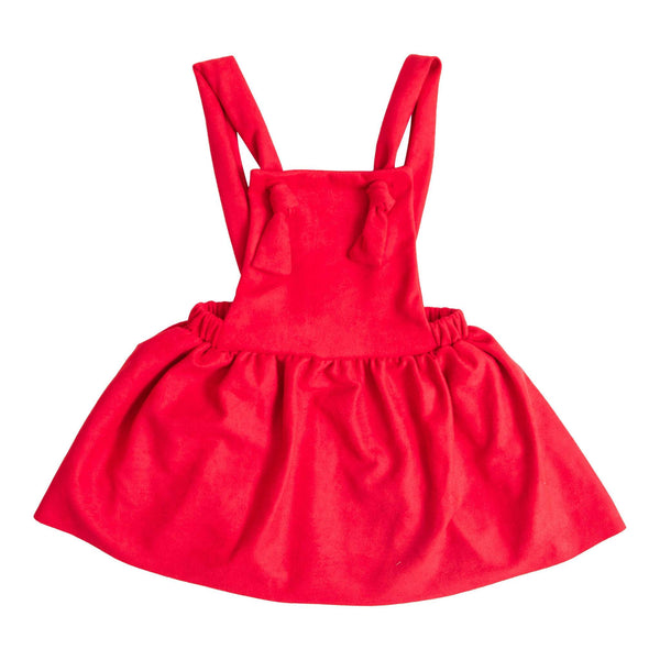 New Fall Girls Stunning Red Pinafore Dress. - JEN'S KIDS BOUTIQUE