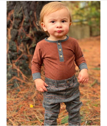 New Fall Me & Henry Rust Stripe Henley Onesie 100% Cotton - JEN'S KIDS BOUTIQUE