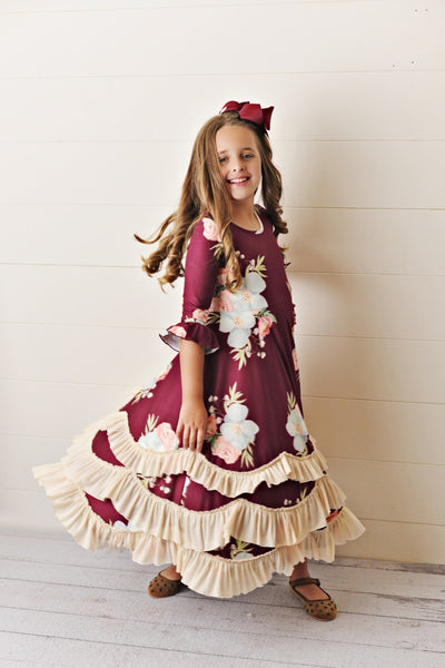 New Fall Maroon Floral Long Sleeve Twirl Dress with Ruffles - JEN'S KIDS BOUTIQUE