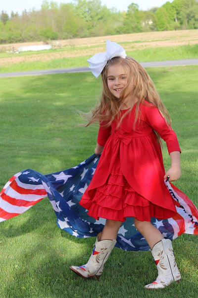 New Fall Red 3/4 Sleeves Ruffles Knitted Dress - JEN'S KIDS BOUTIQUE