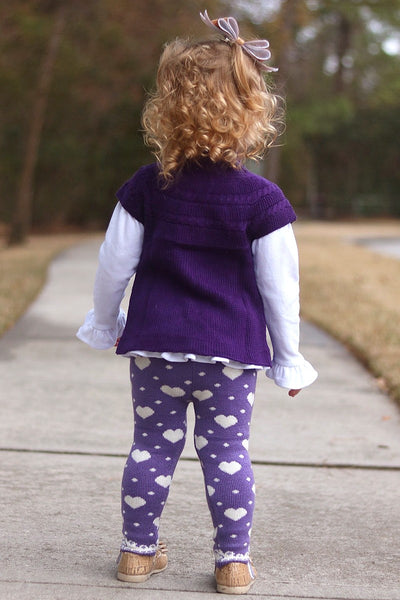New Fall Purple Thick Thermal Leggings-HEARTS - JEN'S KIDS BOUTIQUE