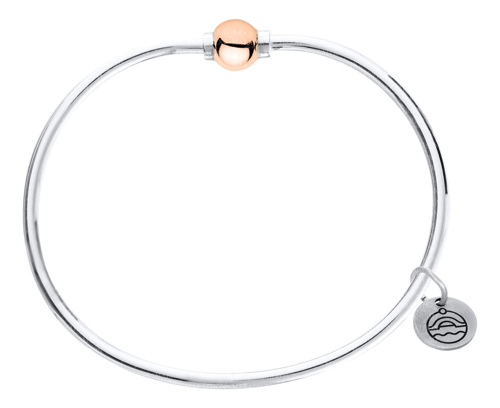 Cape Cod Bracelet Sterling Silver with Rose Gold Bead Single Bead