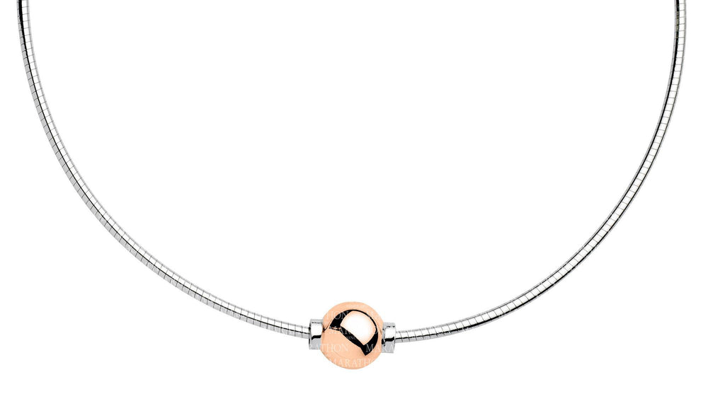 Cape Cape Cod Necklace Sterling Silver Omega with Rose Gold Bead