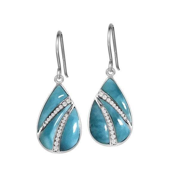 Alamea SS Oval Larimar Earrings with pave