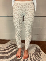 Barefoot Dreams COZYCHIC ULTRA LITE CREAM STONE LEOPARD LEGGINGS