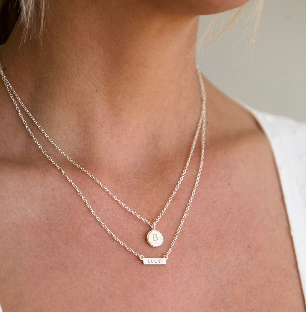 Mini Bar Necklace Gold / Engravable SS Back