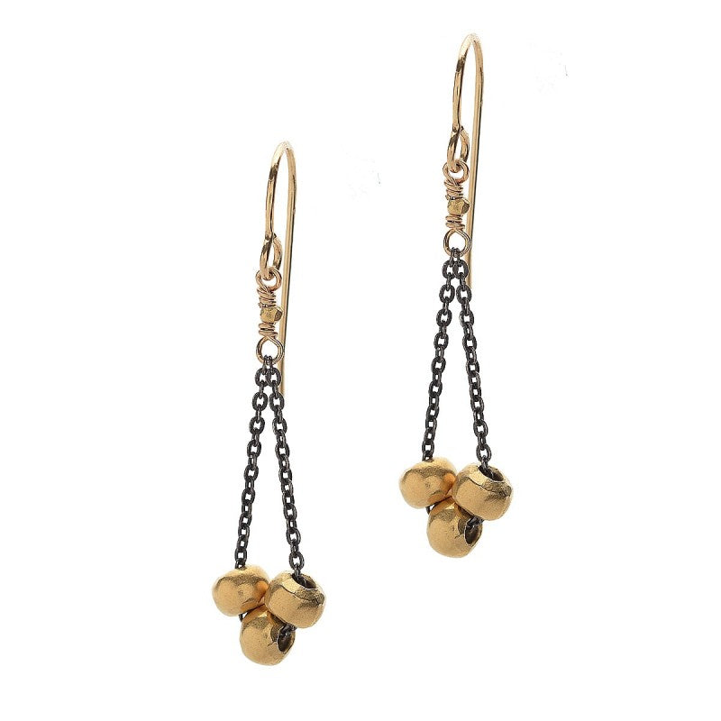 Three 14kt Vermeil Bead Earrings
