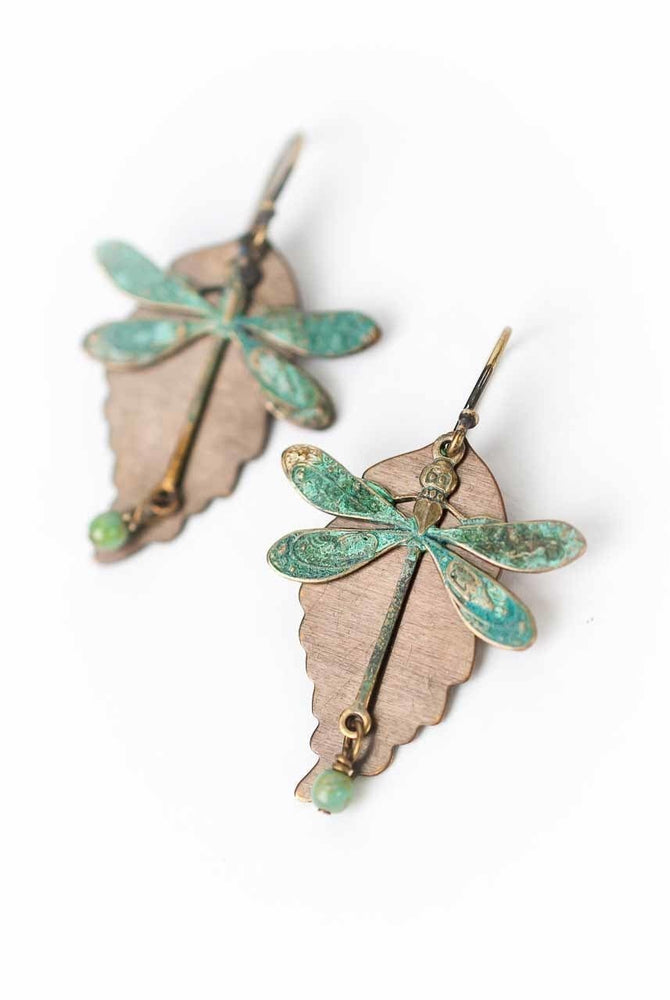 RUSTIC CREEK DRAGONFLY LEAF EARRINGS