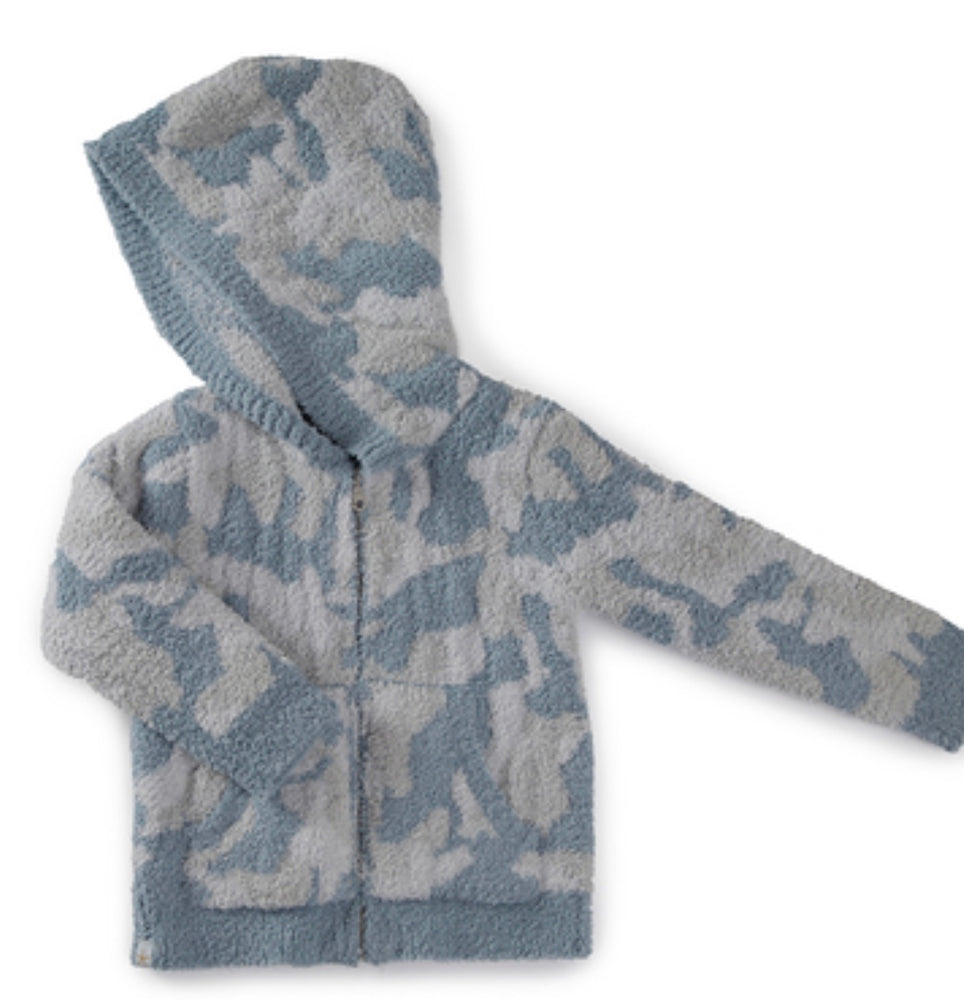 BAREFOOT DREAMS the COZYCHIC® TODDLER CAMO ZIP UP HOODIE OCEAN MULTI
