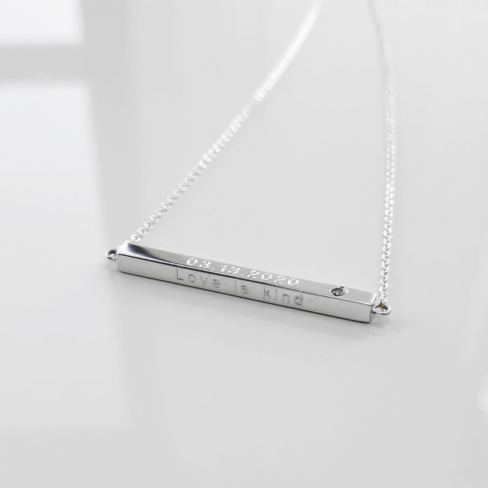 Thatch Custom Engravable Moments Diamond Bar Necklace Silver