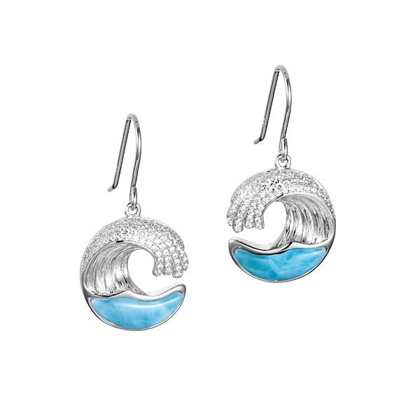 Alamea SS Wave Earrings with Larimar & Pave