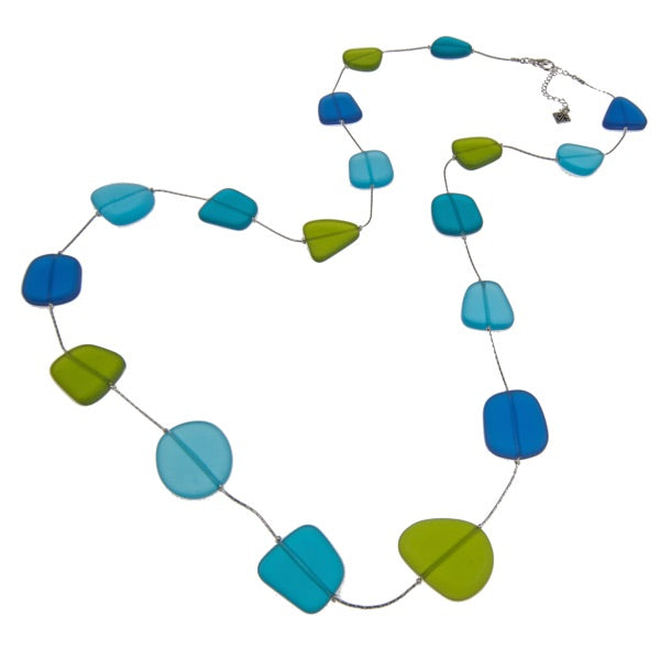 Cool Tone Recycled Frosted Glass With Silver-Plated Wire Long Necklace