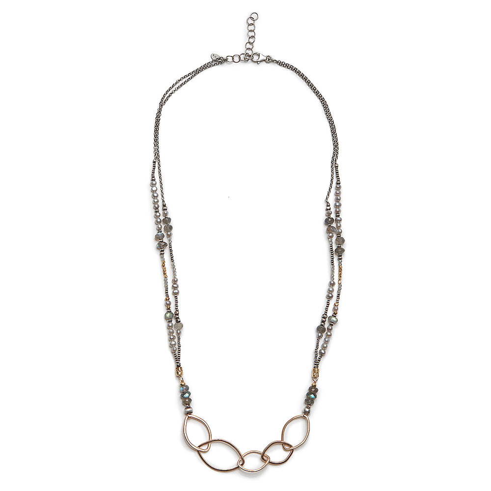 J and I 14kt gold fill lead shape link with sterling, 6mm labradorite, grey pearl, 14kt gold vermeil double strand necklace – 24″