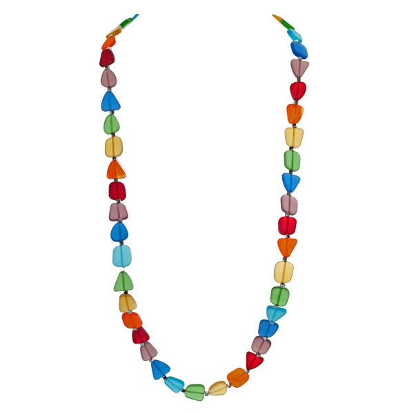 Vibrant Recycled Frosted Chakra Glass Necklace