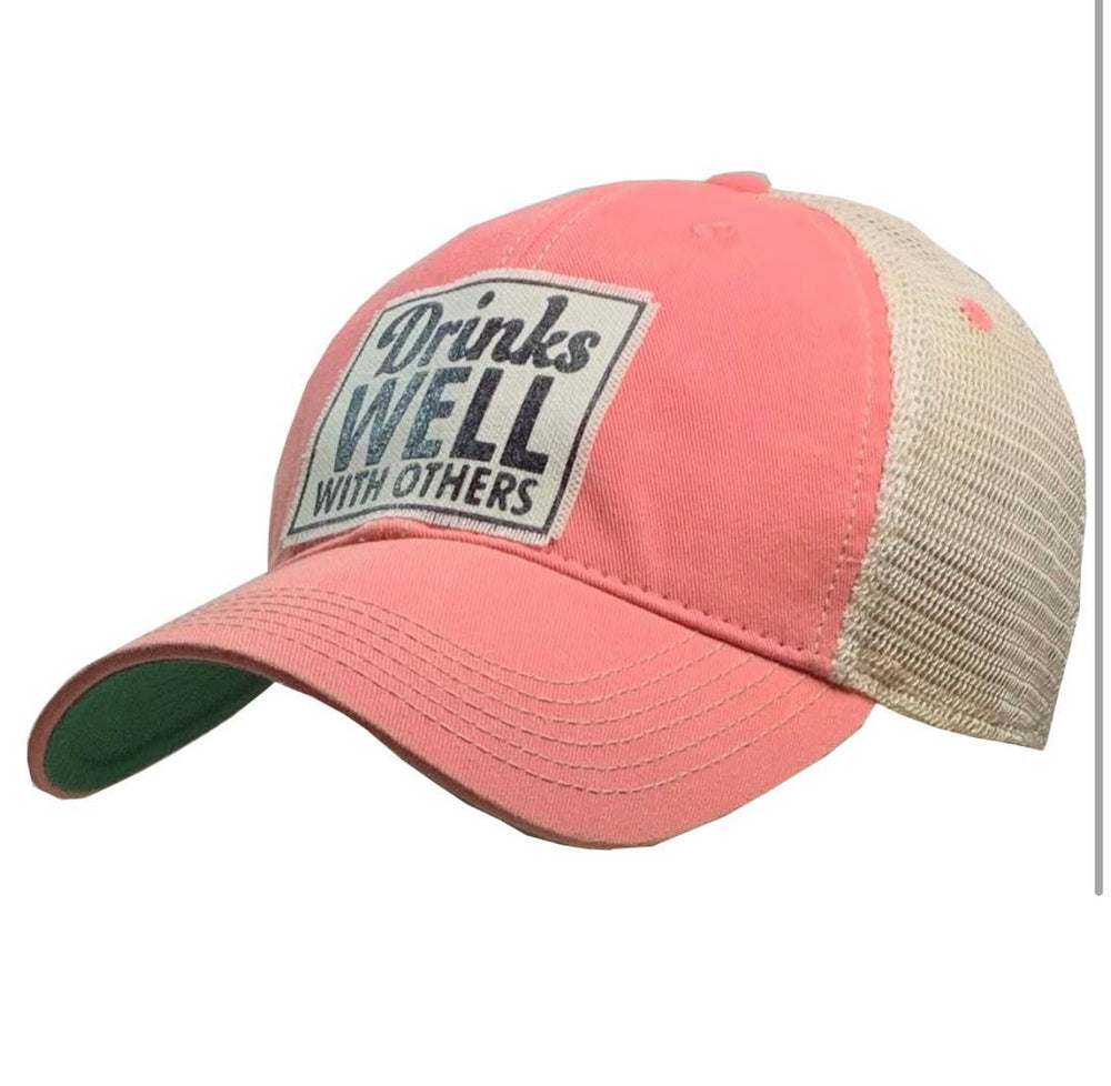 "Vintage Trucker Baseball Hat ""Drinks Well With Others"""