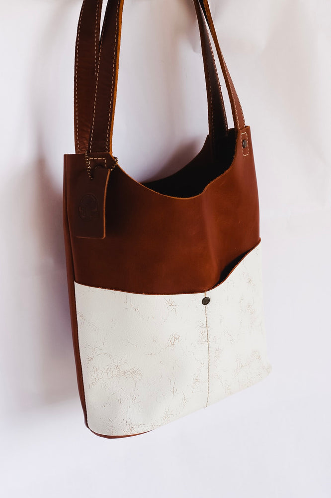 Oak River Exclusive Leather Mini Tote Indigo Whiskey Cracked White