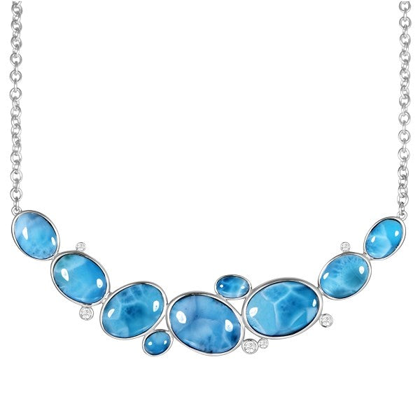 Alamea SS Oval  Shape Larimar Necklace with white topaz
