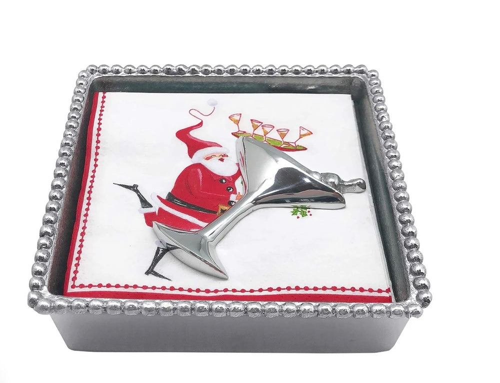 Martini Santa Beaded Napkin Box