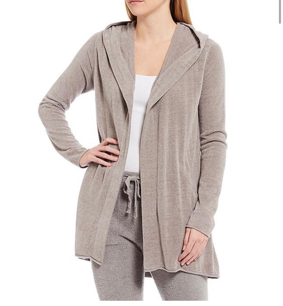 BAREFOOTDREAMS  CozyChic™ Ultra Lite Hood Cardigan Beach Rock