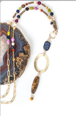 "TAPESTRY 33.5-35.5"" BUMBLEBEE JASPER, CATS EYE, LAPIS FOCAL NECKLACE"