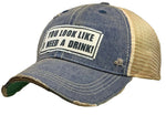 "Vintage Trucker Baseball Hat ""You look like I need a drink"""