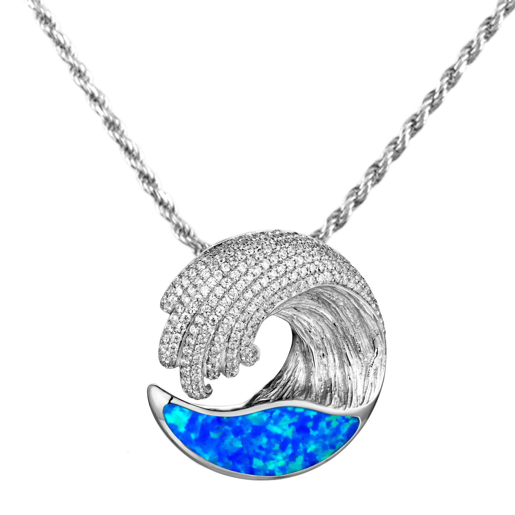 Alamea SS Small Wave Pendant Necklace with Opal & Pave