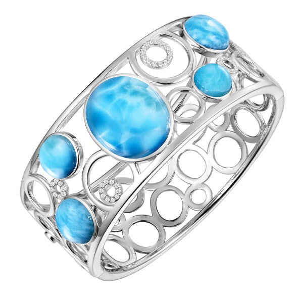 Alamea SS Pebbles by the Sea Bangle with Larimar & White Topaz
