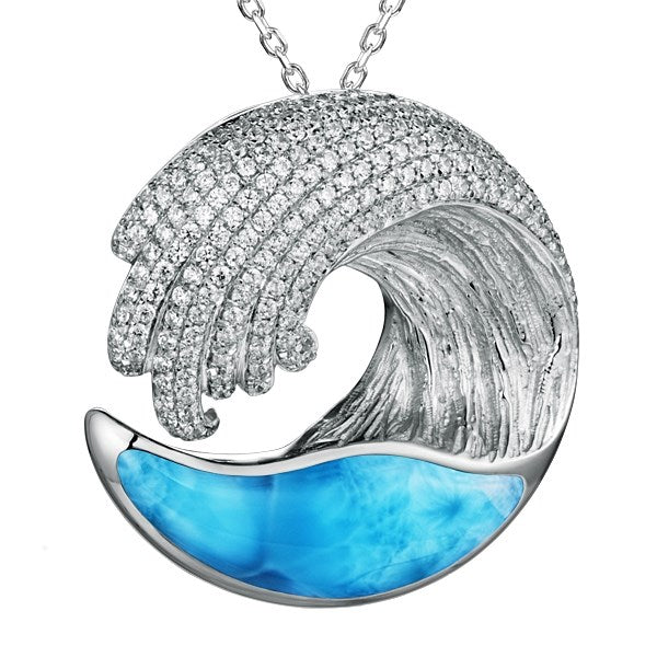 Alamea Large SS Wave Pendant Necklace with Larimar & Pave