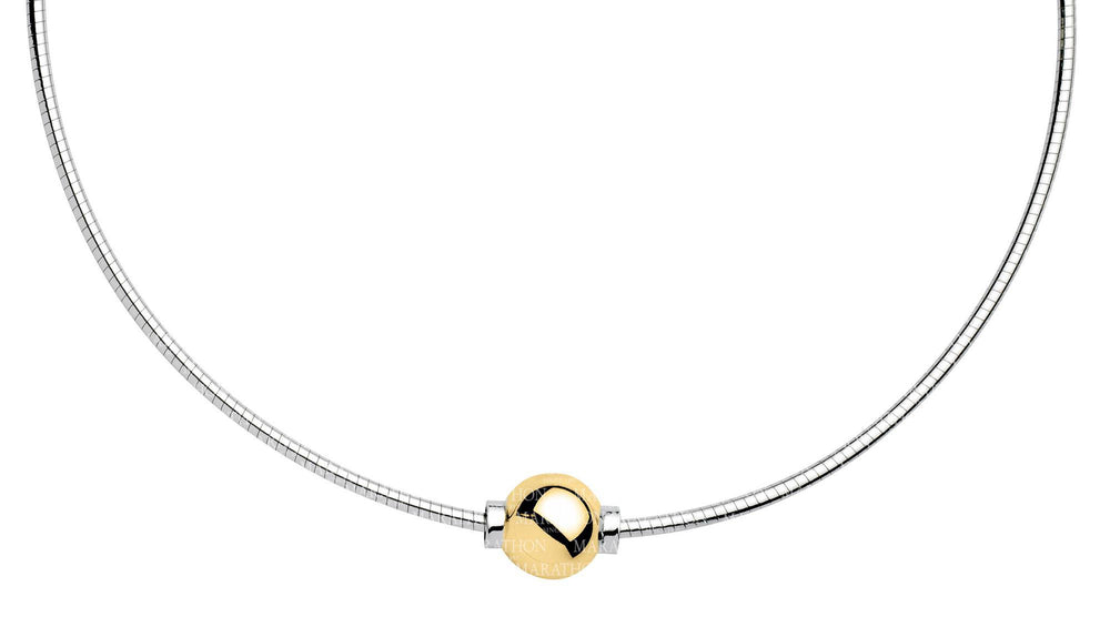 Cape Cape Cod Necklace Sterling Silver Omega with Gold Bead