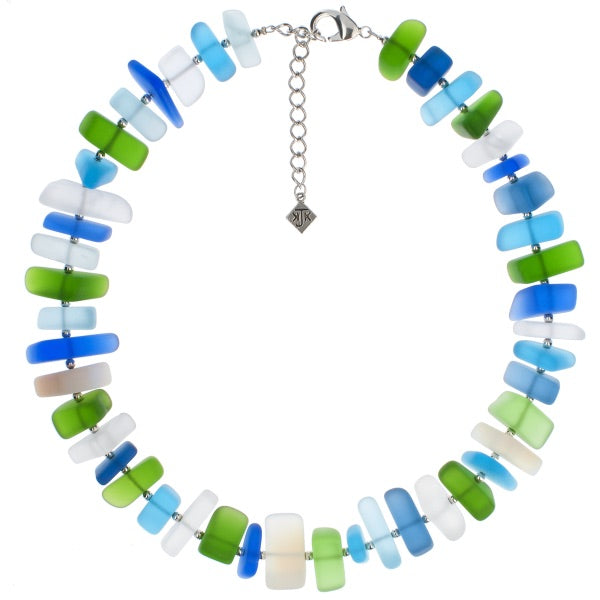 Blue And Green Frosted Glass Choker