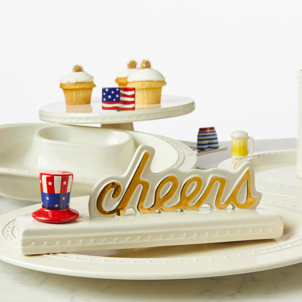 Nora Fleming Stoneware Cheers sign