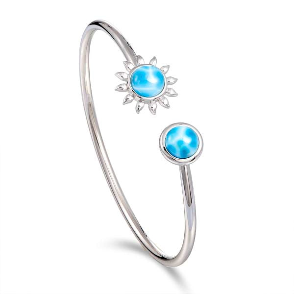 Alamea SS Sunflower Flexible Bangle with Larimar