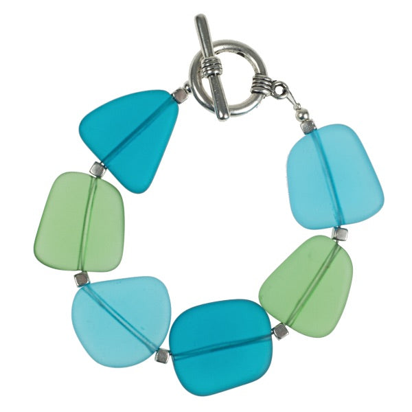 Cool-Tone Recycled Frosted Glass Bracelet
