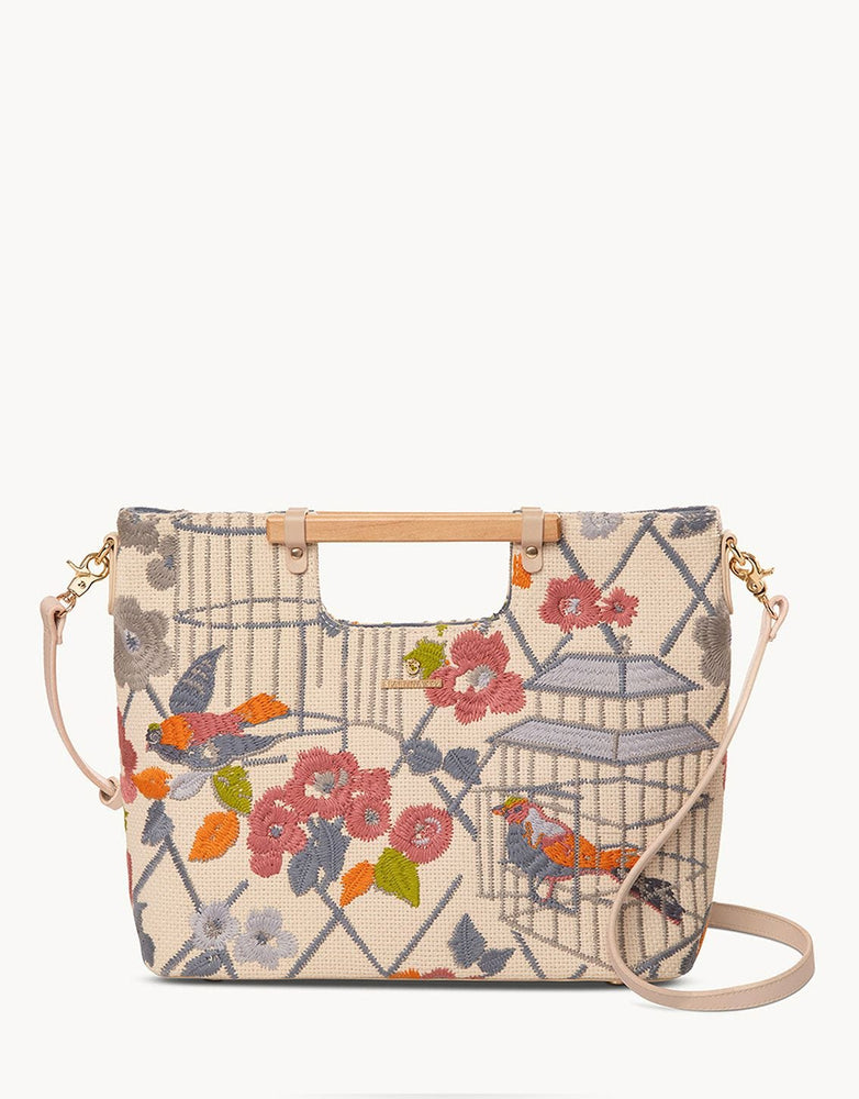 Song Bird Embroidered Lark Tote