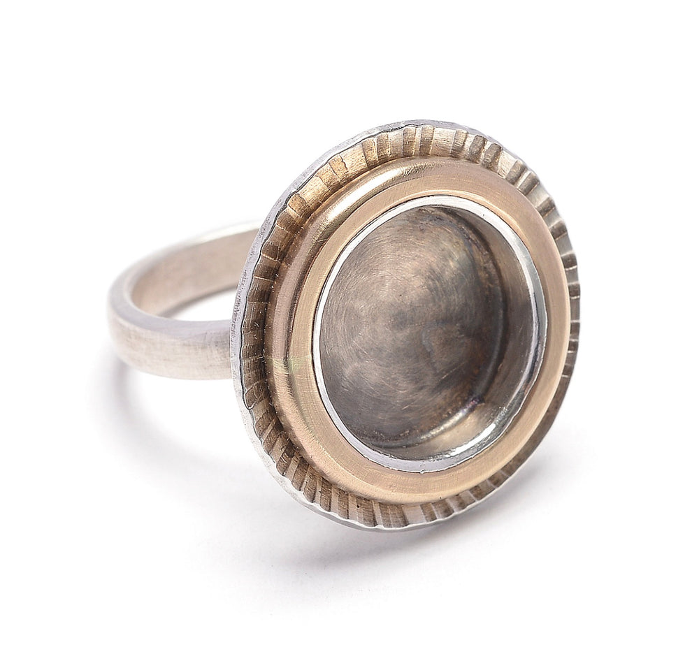 Hammered and textured sterling disc and 14kt goldfilled circle ring
