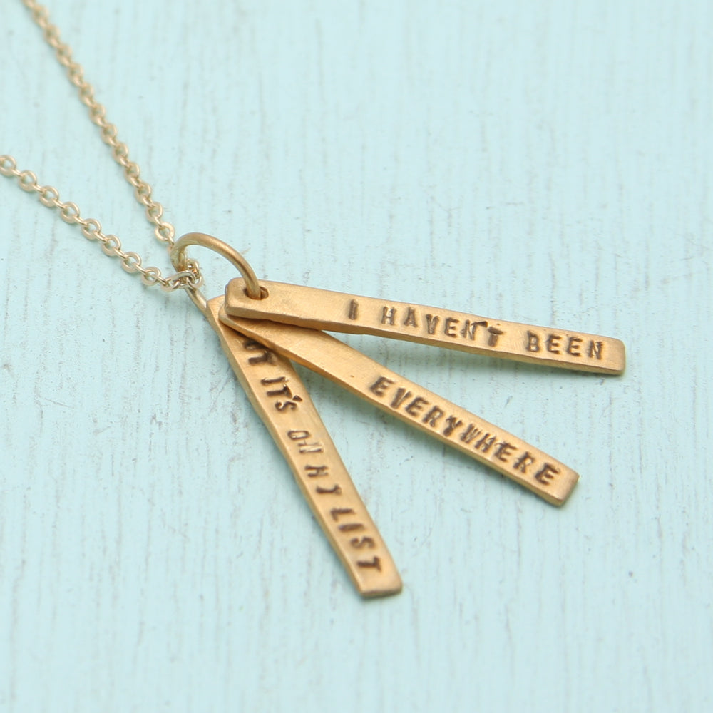 Chocolate & Steel Susan Sontag Long Bar Quote Necklace