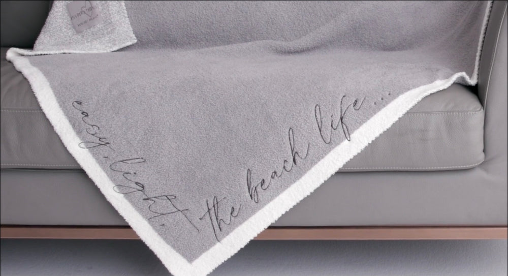 CozyChic Inspiration Embroidered Blanket Easy , Light , The Beach Life ...