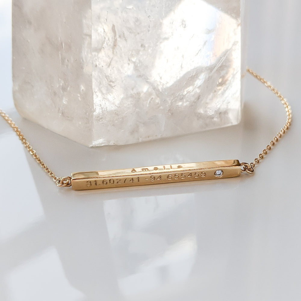 Thatch Custom Engravable Moments Diamond Bar Necklace