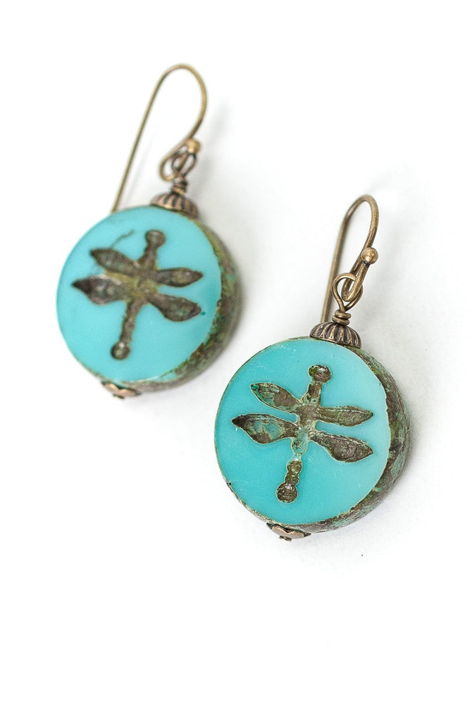 RUSTIC CREEK CZECH GLASS DRAGONFLY EARRINGS