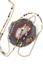 "TAPESTRY 51.5-53.5"" BUMBLEBEE JASPER, CORAL, CATS EYE, LAPIS COLLAGE NECKLACE"