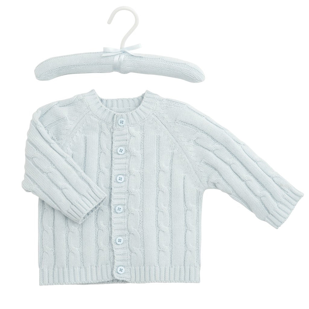 LIGHT BLUE CLASSIC CABLE KNIT SWEATER 6 MONTHS