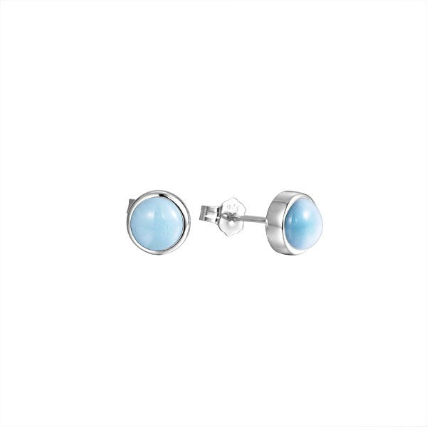 Alamea SS 8mm Larimar Stud Earrings