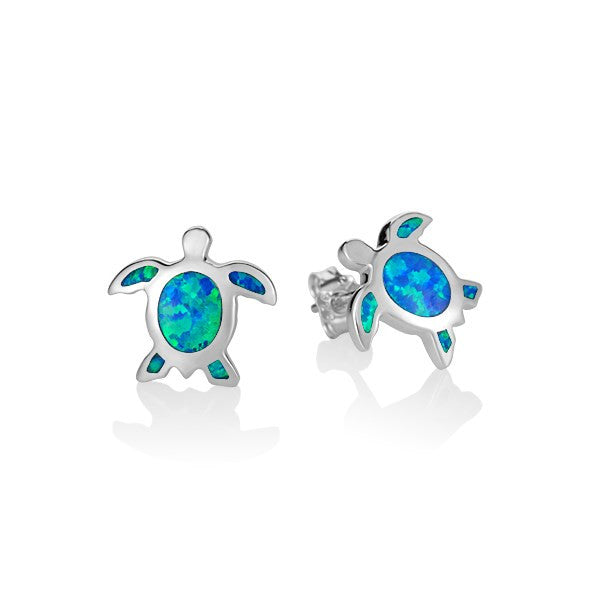 Alamea SS Turtle Earrings with Opal