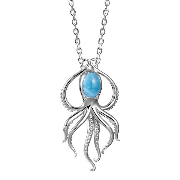 Alamea SS Squid Pendant Necklace With Larimar