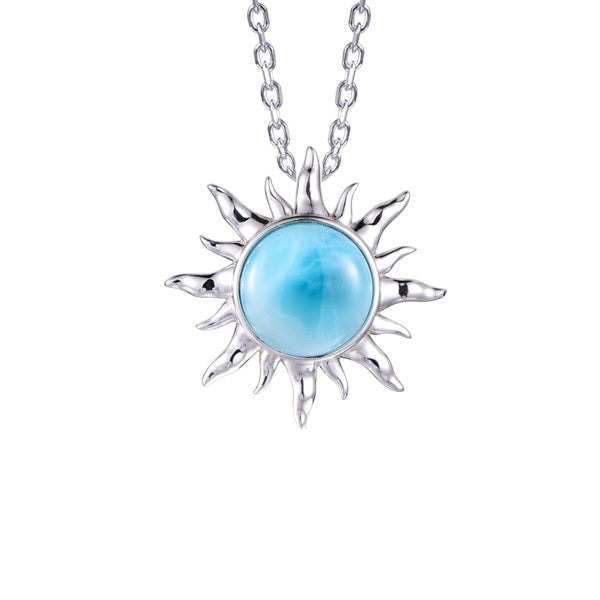 lamea SS Sun Pendant Necklace With Larimar