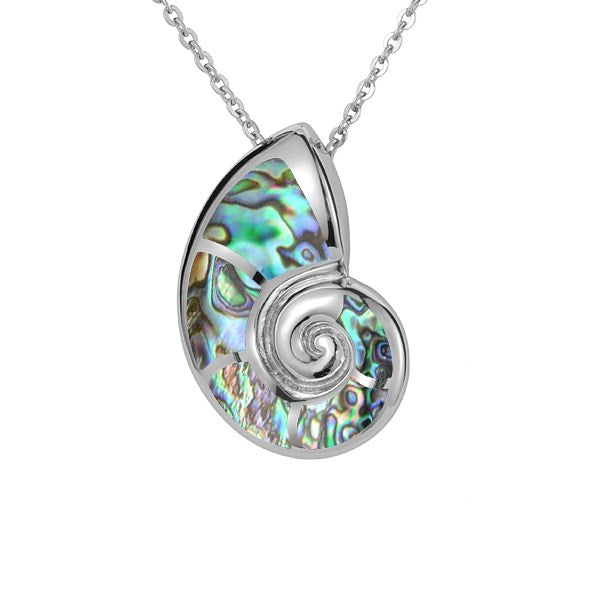 Alamea SS Nautilis Shell Pendant Necklace with abolone