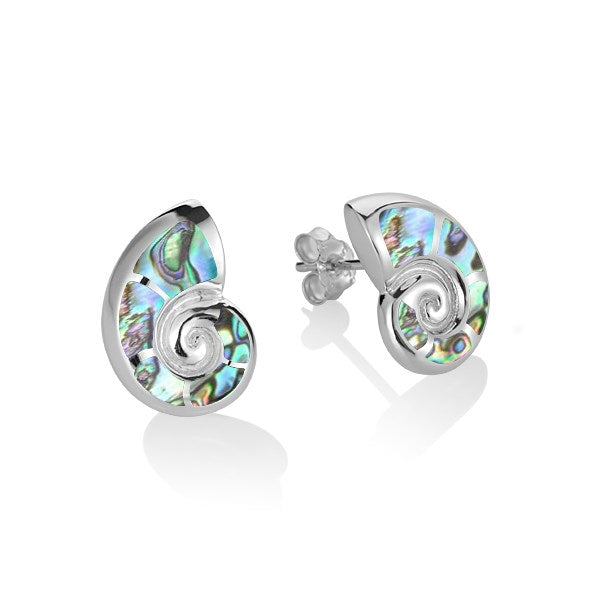 Alamea SS Nautilus Shell Earrings with Abalone