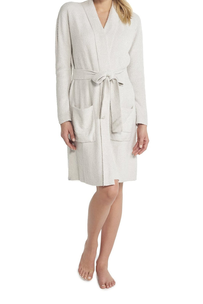 BareFoot Dreams Cozychic Lite Ribbed Robe Silver Pearl